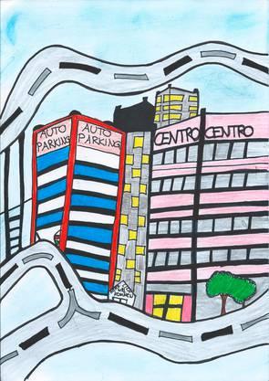 Zentrum mit Hochhäusern