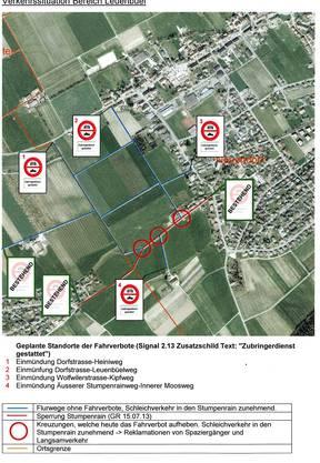Auf der Karte ist ersichtlich, wo die Verbotsschilder aufgestellt werden. zvg