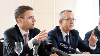Ziehen bei den Spitälern am selben Strick: Die Regierungsräte Lukas Engelberger (BS) und Thomas Weber (BL).