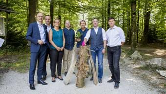 Sie arbeiten auf die 41. Herbstmesse hin (v.l.): Steffen Schoch (Geschäftsführer Heilbronn Marketing GmbH), Thomas Zindel und Michèle Müller (Geschäftsstelle HESO), Alain Walter (HESO, Bau), Geri Kaufmann (Projektleiter Sonderausstellung «Kraftort Wald»), Urs Unterlerchner, (Präsident HESO-OK) und Daniel Wermelinger (Geschäftsführer Solodaris-Stiftung)