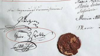 Das Inventar des Klosters Gnadenthal zeigt die Unterschrift Heinrich Zschokkes (roter Kreis).