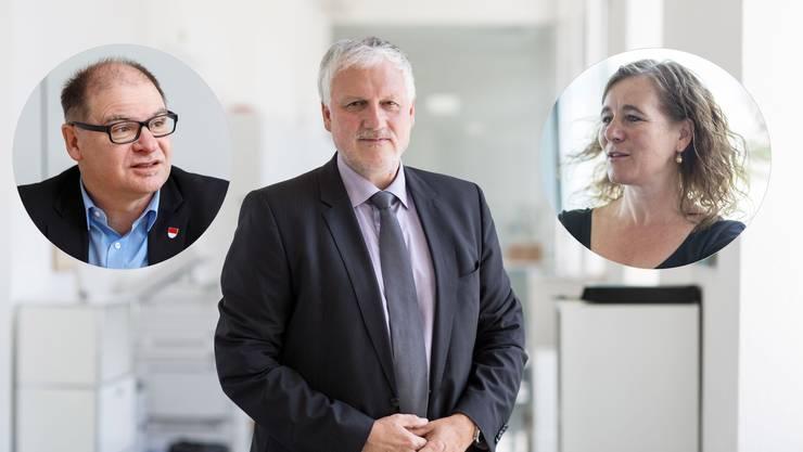 Neben Peter Gomm (mitte) kandidieren für die SP auch Urs Huber und Franziska Roth.