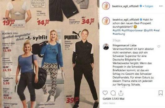 Beatrice Egli postete die Werbung auf Instagram, wo sie auf das Unverständnis von Nationalratskandidat Marcel Fringer stiess. (Instagram/Screenshot)
