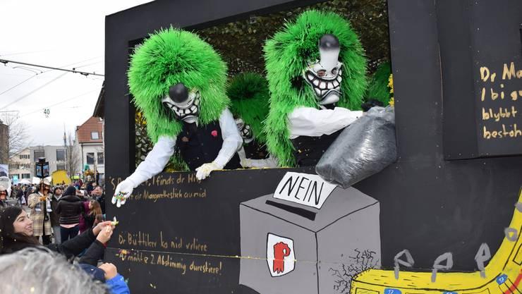 Die «Dätschmaischter» sinnieren über die abgelehnte Vorlage zum Margarethenstich  («Dä Stich het kai Stich!») – und befürchten eine zweite Abstimmung.