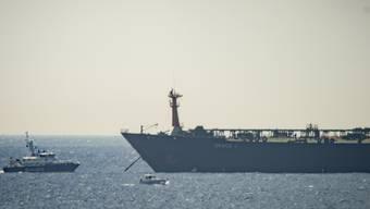 """Der unter panamaischer Flagge fahrende Supertanker """"Grace 1"""" vor Gibraltar. (Archivbild)"""