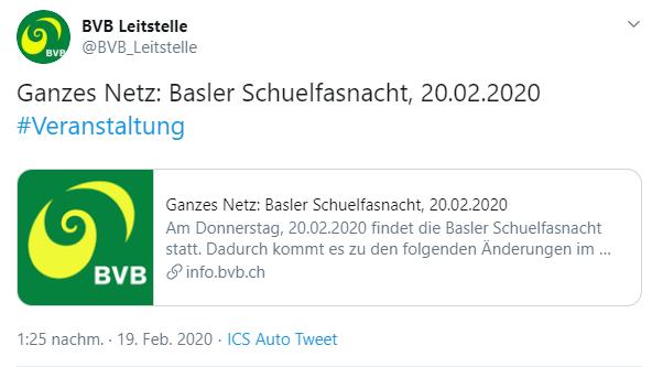 BVB Betriebsänderung aufgrund Schuelfasnacht
