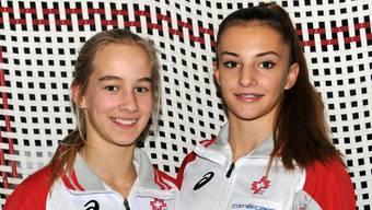 Emily Mussmann (links) erreichte im Einzel- und im Synchronwettkampf mit Partnerin Anina Wechsler (rechts) zweimal Rang fünf.