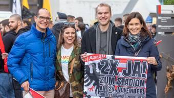 Solidaritätsmarsch in Aarau  zum neuen Stadion Torfeld Süd