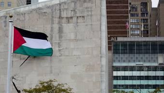 Die Palästinenser-Flagge weht nun am UNO-Hauptquartier in New York - im Rosengarten.