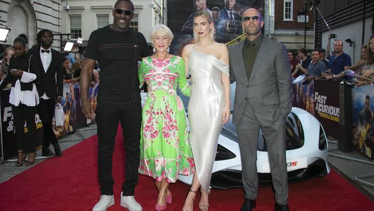 Die Stars von «Fast & Furious: Hobbs & Shaw»: Idris Elba, Helen Mirren, Vanessa Kirby und Jason Staham.
