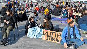Am Freitag, 25. Januar, war in Zürich ein grosser Klima-Streik (im Bild der Sechseläutenplatz). Auch zirka 40 Schülerinnen und Schüler der Kanti Limmattal nahmen teil.