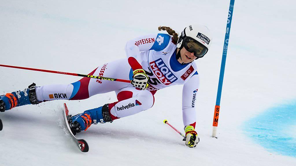 Andrea Ellenberger während des ersten Laufs in Are