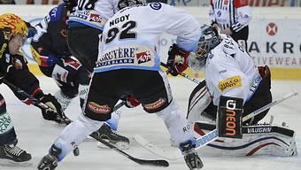 Fribourgs Goalie Benjamin Conz behält die Übersicht