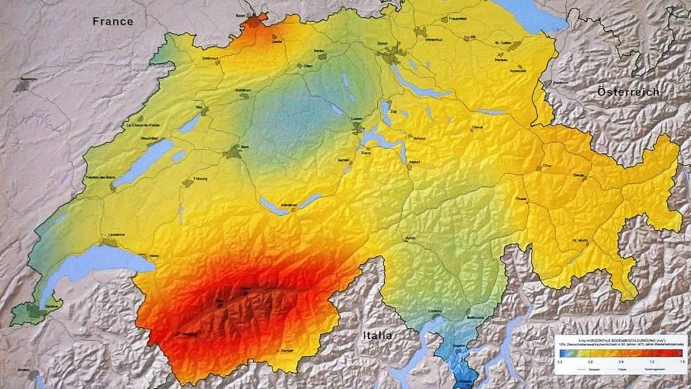 Ein Blick auf die Karte der von Erdbeben gefährdeten Regionen in der Schweiz zeigt, dass der Kanton Wallis stark betroffen ist. (Archivbild).