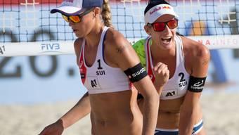Joana Heidrich (links) und Anouk Vergé-Dépré - im Bild an der WM im Vorjahr - standen zum ersten Mal auf der World Tour gemeinsam in einem Final