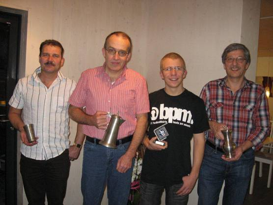 v.l.n.r.: Rohrer Hansjörg, Brand Ruedi, Jungschütze Schwarz  Stefan und Mösch Walter