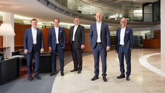 Geschäftsleitung AKB (V.l.n.r.: Mirco Hager, Patrick Küng, Stefan Liebich, Dieter Widmer, René Chopard).