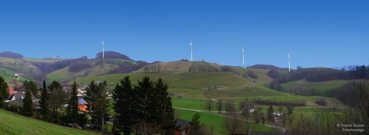 Diese Montage zeigt die möglichen Standorte des Windparks, von Wisen aus gesehen.