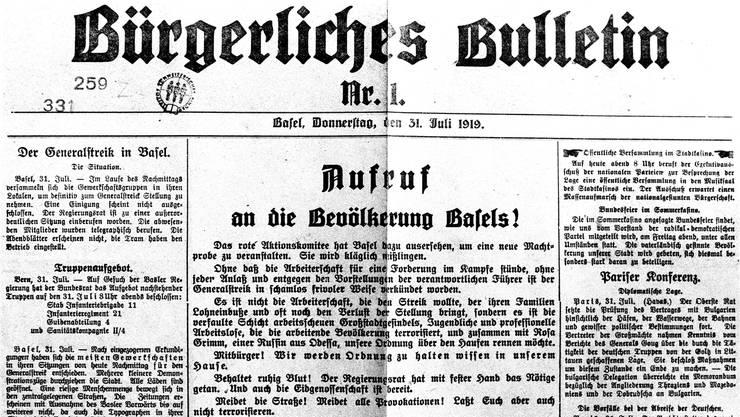 Propagandaschlacht: Das «Bürgerliche Bulletin» als Instrument gegen den Streik. Bild: Keystone