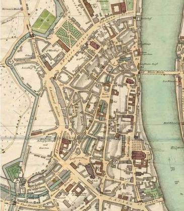 Eine Karte von Grossbasel um 1830. Sie wurde 1832 vom Kartograf Heinrich Keller editiert