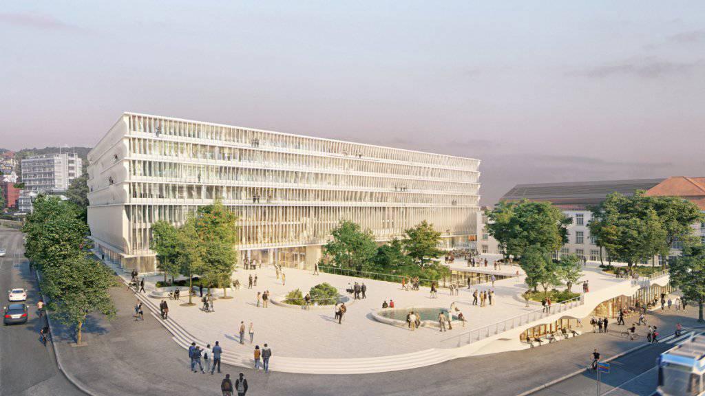 So soll das neue Bildung- und Forschungszentrum «Forum UZH» der Uni Zürich an der Ecke Gloria- und Rämistrasse dereinst aussehen. Platz machen müssen Turnhallen und ein Sportplatz.