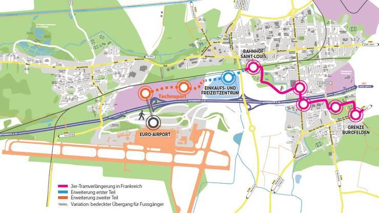 Die geplanten Tramverlängerungen bis zum Flughafen