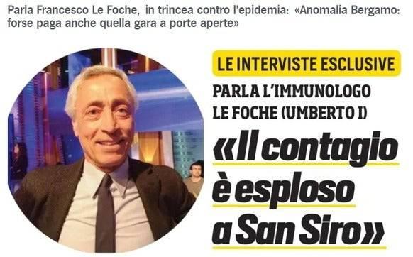«Die Ansteckung ist im San Siro explodiert»: Der Immunologe Francesco Le Foche im «Corriere dello Sport».