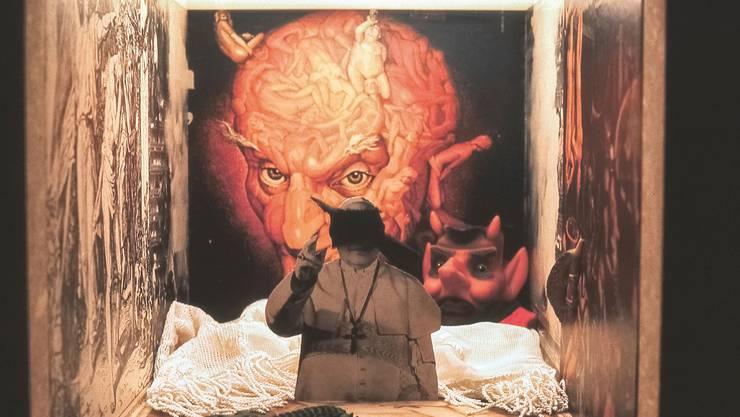 Frauensicht: Doris Stauffers «Papst Guckkasten aus: Patriarchales Panoptikum» in der Ausstellung 1975.
