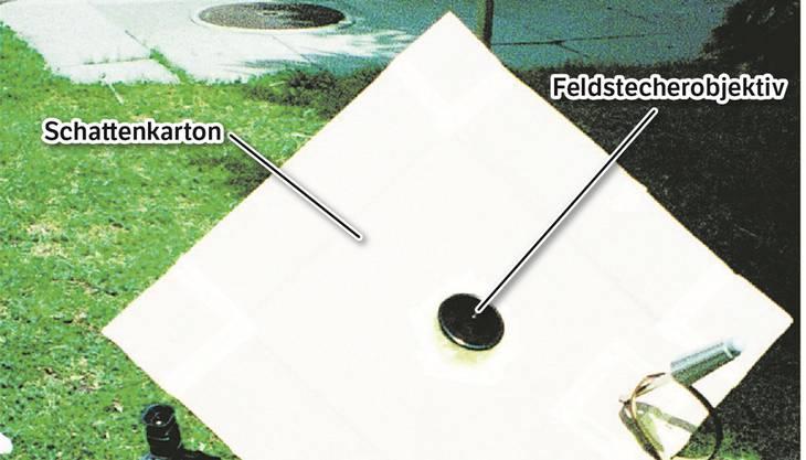 Kurt Sauter aus Urdorf hat für die Sonnenfinsternis von 1999 eine Anlage zum gefahrlosen Verfolgen der Sonnenfinsternis gebaut und der Limmattaler Zeitung ein Bild davon geschickt. Die Feldstecher-Projektion lässt sich auch zu Hause nachbauen.