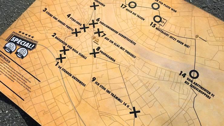 Diese Karte soll die Teilnehmer quer durch das Gross- und Kleinbasel lotsen.
