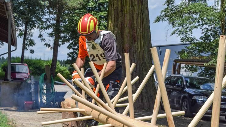 Andi Budliger beim Ausasten einer Baumkrone, der Vorarbeiter vom Forstbetrieb Region Muri hat den AargauischenHolzerwettkampf schon zweimal gewonnen und ist auch dieses Jahr einer der Favoriten. Toni Widmer