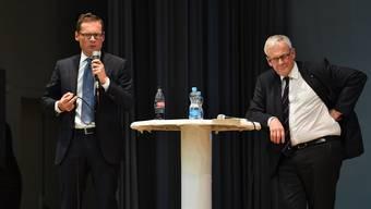 Beide leben «auf einem anderen Planeten» in Sachen Selbstbestimmungs-Initiative. Roger Köppel (l.) und Kurt Fluri.