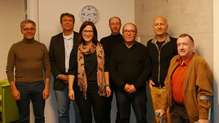 Die sieben nominierten Kantonsratskandidaten der SP Grenchen (v.l.): Daniel Hafner, Jean-Pierre Thomsen, Angela Kummer, Aron Müller, Remo Bill, Alex Kaufmann und Daniel Hirt.