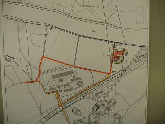 Dieser Plan zeigt das Asylzentrum im Umgebungskontext