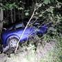Bäume stoppten den Wagen.