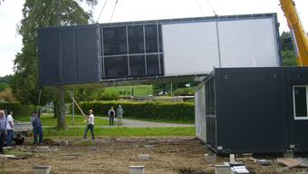 Teil der Schulraumplanung in Dietikon: Container beim Schulhaus Wolfsmatt.