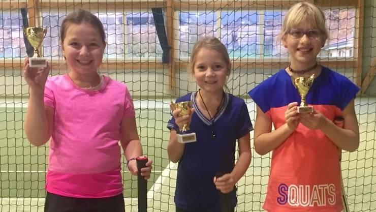 Das Podest der Kategorie orange mit (v.l.) Andjela Blesic, Sophia Gajdosikova und Lara da Silva.