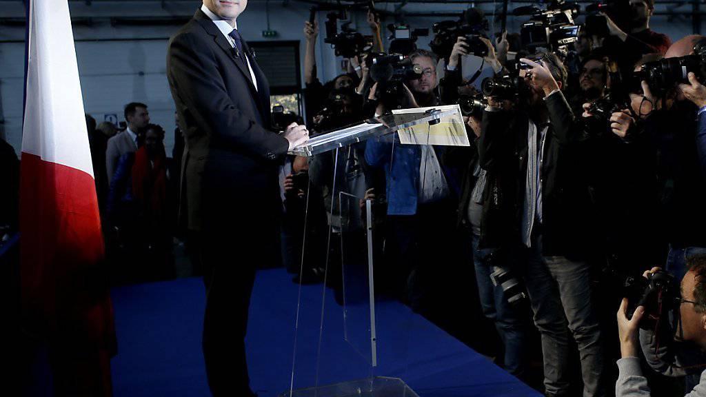 Emmanuel Macron bei der Ankündigung seiner Kandidatur
