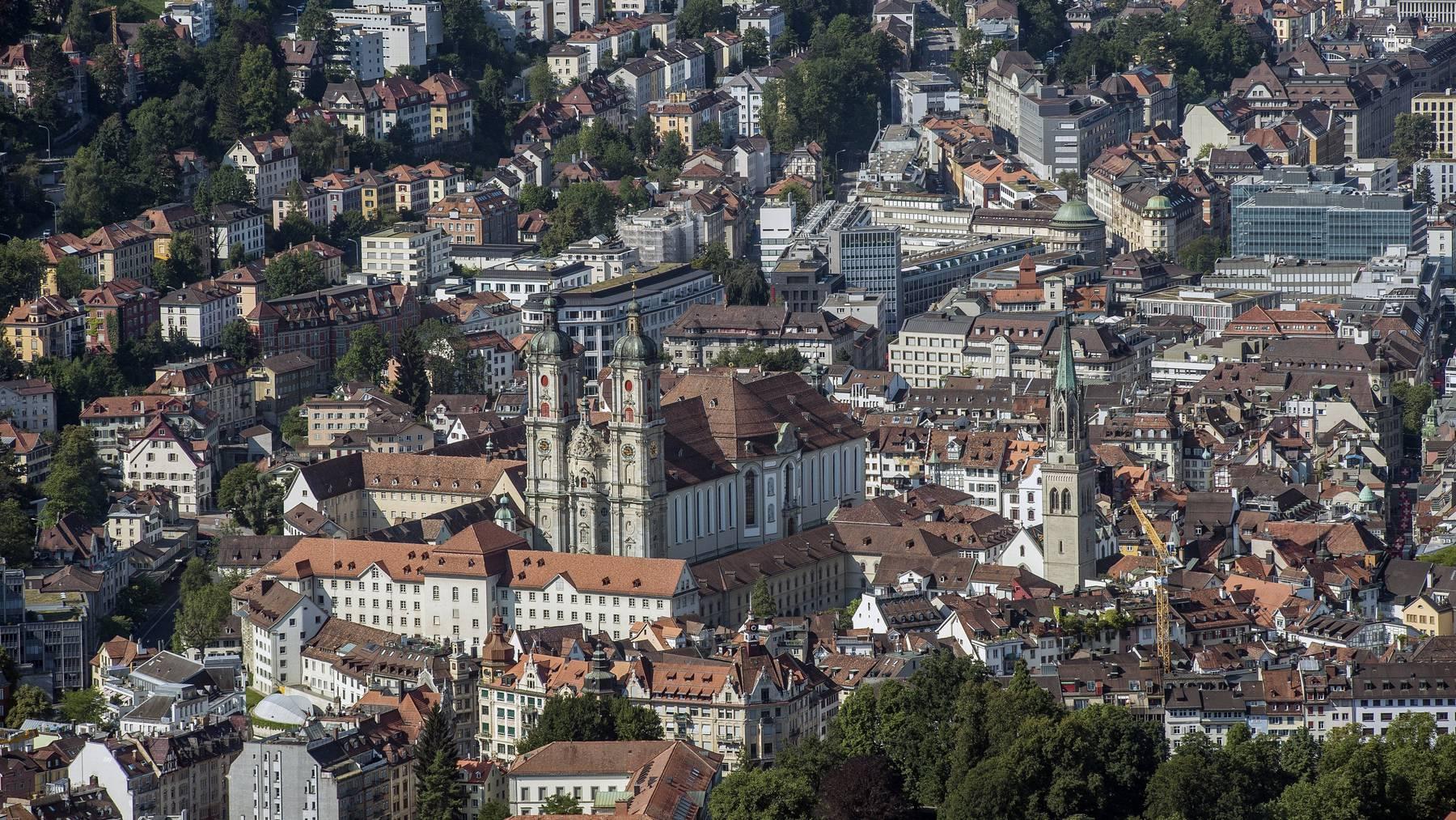 Blick aus der Luft auf die Stadt St. Gallen.
