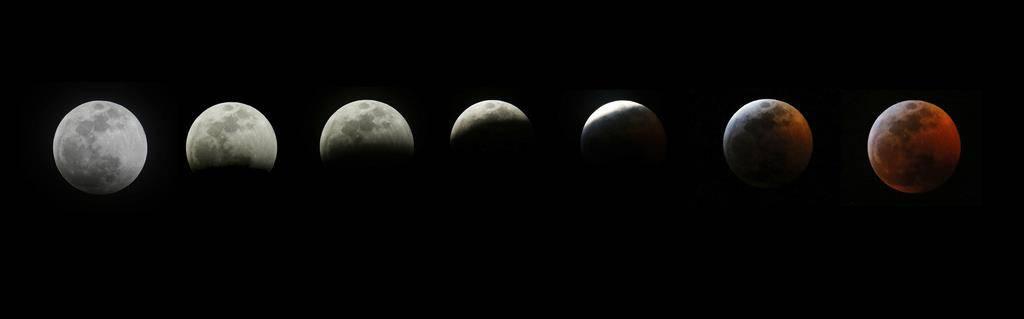 Mond in den verschiedenen Phasen der Mondfinsternis. Aufgenommen in Los Angeles.
