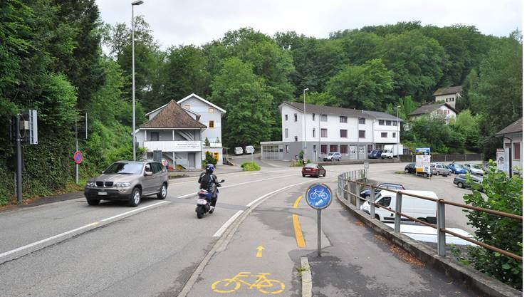 Pförtneranlage Wöschnau: Hier sollen die von Schönenwerd her nahenden Autos warten, bis sie nach Aarau hineinfahren dürfen – der Bus erhält eine separate Busspur und kann immer vorfahren.