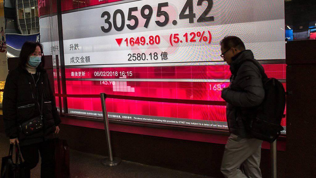 Die Börsen in Asien folgen der Wall Street mit deutlichen Abschlägen. (Archivbild)