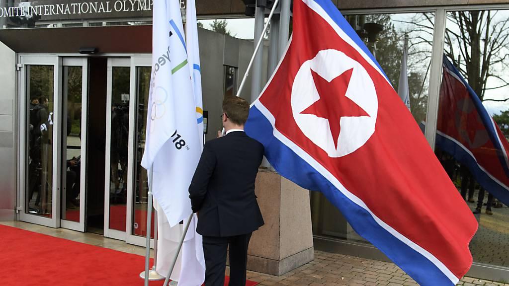 Die Fahne von Nordkorea wird bei den Sommerspielen in Tokio nicht zu sehen sein
