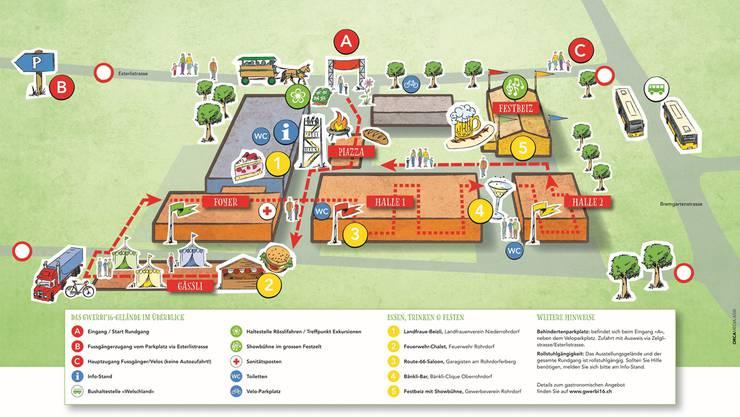 Der Lageplan der Gwerbi' 16 rund um die Schulanlage Rüsler: 1–5 sind Restaurants, A ist der Eingang, B und C sind Ausgänge.