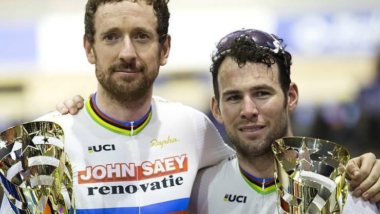 Der ehemalige Tour-de-France-Sieger Bradley Wiggins (links) bei einem seiner letzten Auftritte im November an einem Sechstagerennen in Belgien