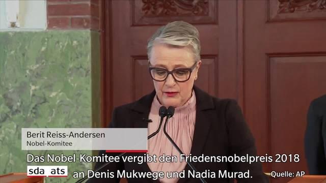 Friedensnobelpreis für Kampf gegen Sexualverbrechen als Kriegswaffe
