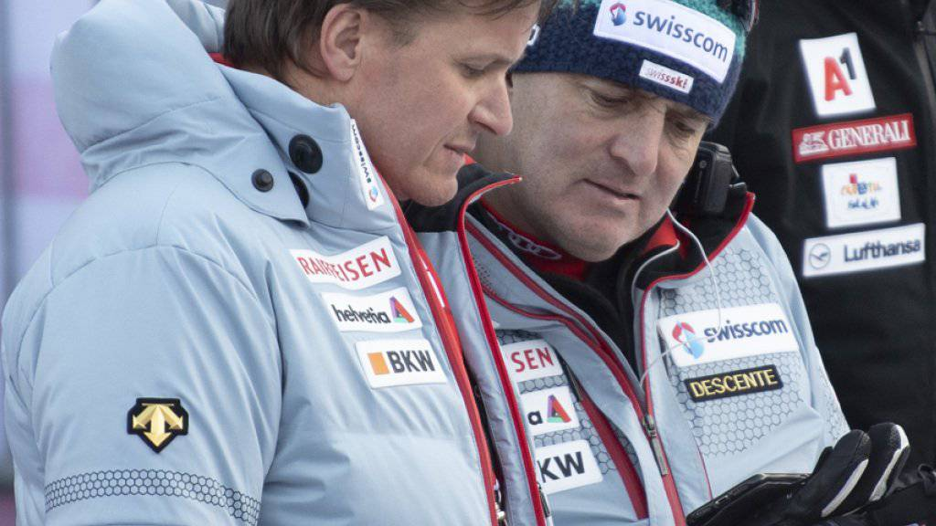 Alpin-Direktor Stéphane Cattin (rechts, im Gespräch mit Swiss-Ski-Präsident Urs Lehmann) verlässt den Schweizer Ski-Verband