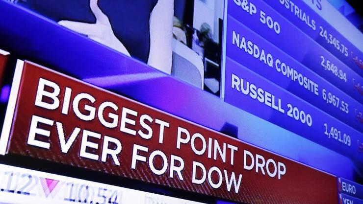Der Dow Jones-Index an der New Yorker Wall Street hatte am Montag den bisher grössten Tagesverlust verbucht.