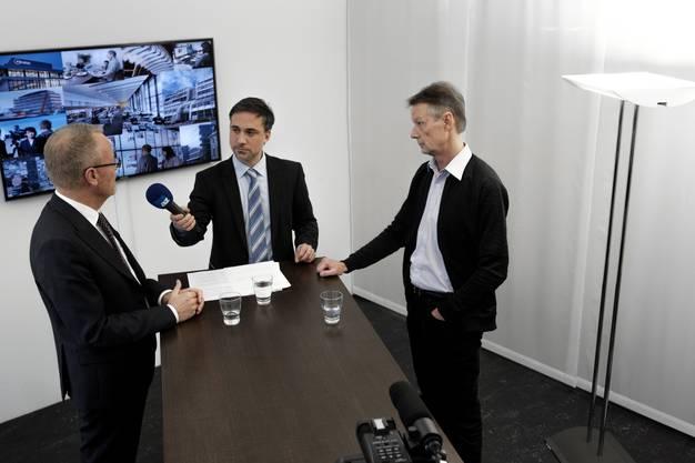 Talk-Aufzeichnung im Studio der Limmattaler Zeitung mit Hans Egloff (links) und Christian Meier (rechts).