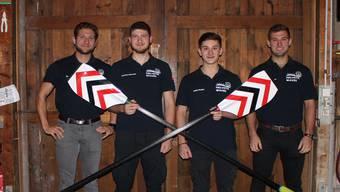 Von links: Georg Stocker, Matthias Odermatt, Peider Stocker, Sebastian Stocker. Im Ruderclub Baden.